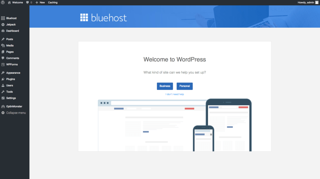 WP Dashboard for Bluehost Blog
