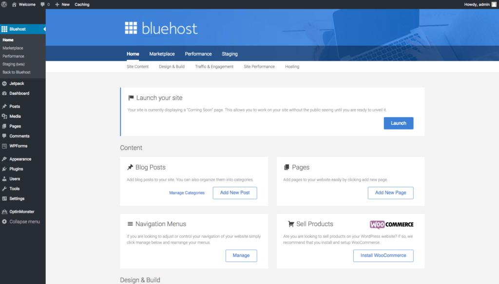 Bluehost Tools on WordPress