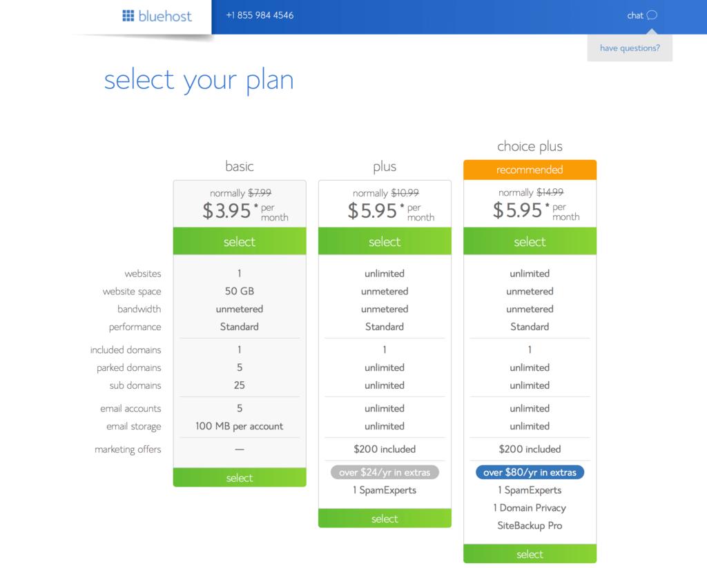 Bluehost Select a Plan Screenshot