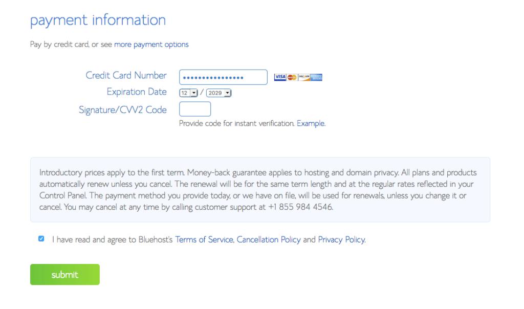 Bluehost Payment Info Screenshot