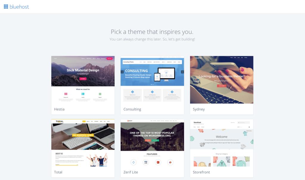Pick a Theme on Bluehost Screenshot