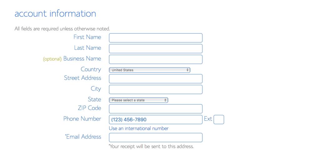 Bluehost Account Information Form Screenshot