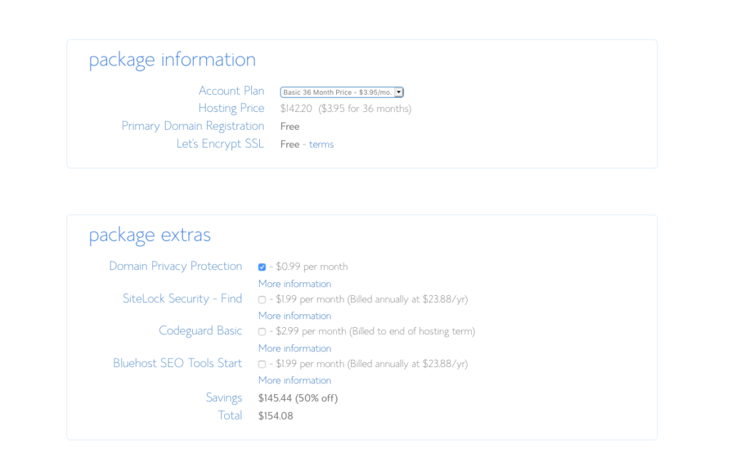 Bluehost Blog Package and Extras Screenshot