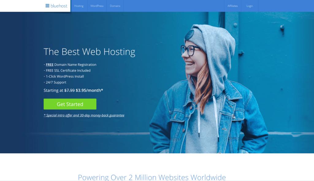 Bluehost How to Start a Blog Screenshot