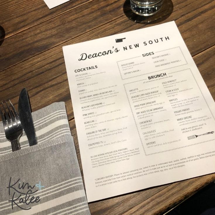 Deacon's New South menu