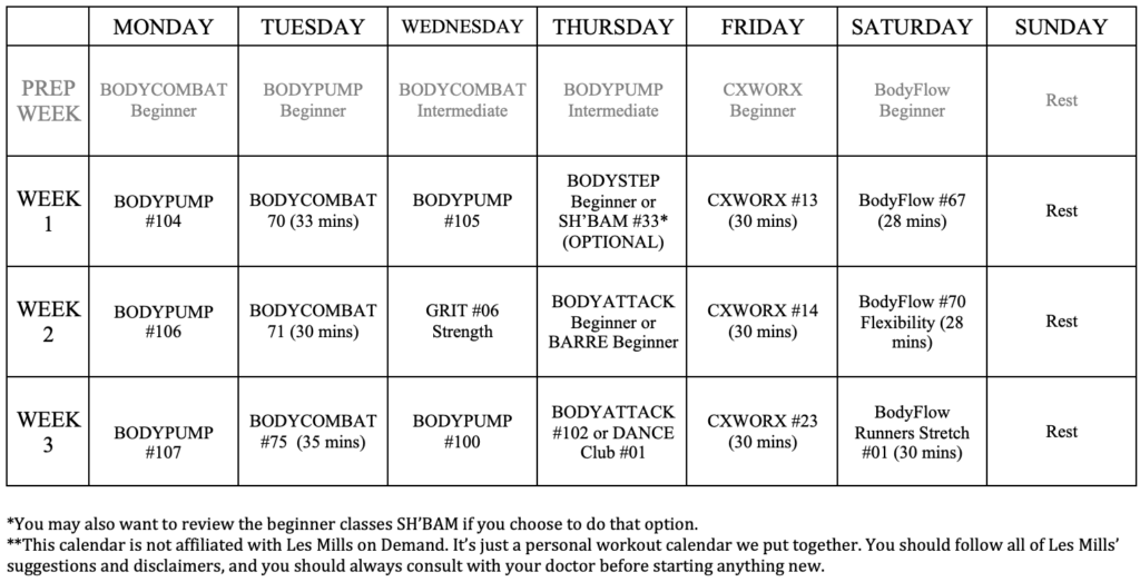 LES MILLS on Demand Workout Calendar