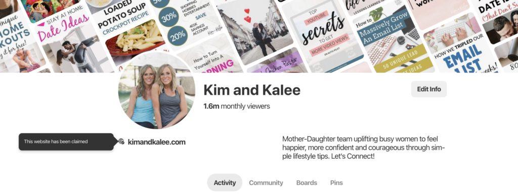Kim and Kalee Pinterest Bio