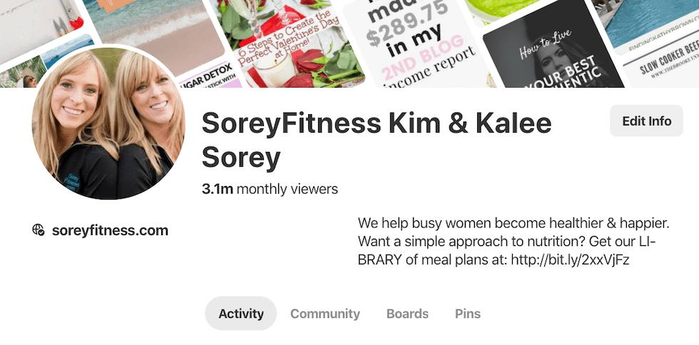 SoreyFitness Profile Pinterest