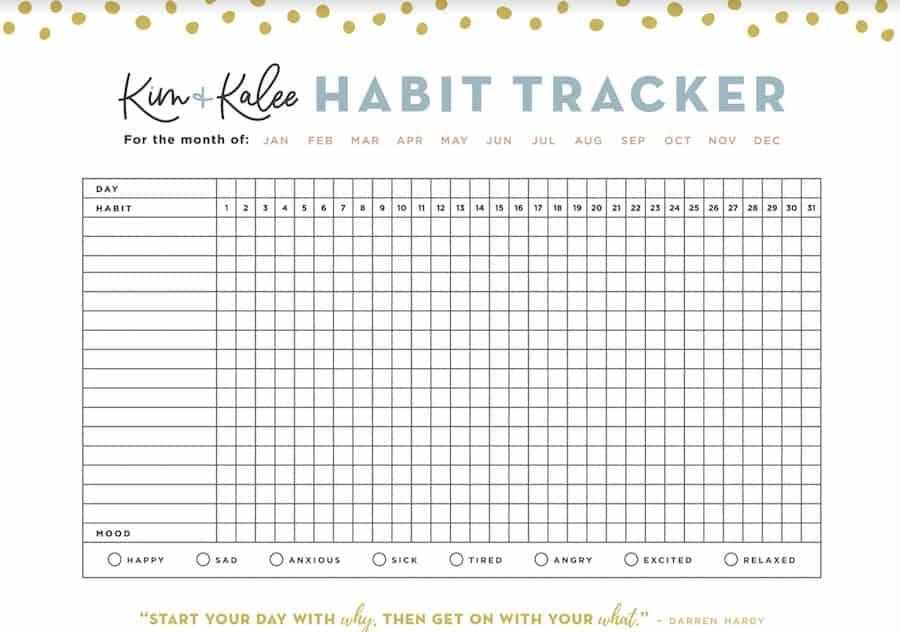 Bullet journal habit tracker printable