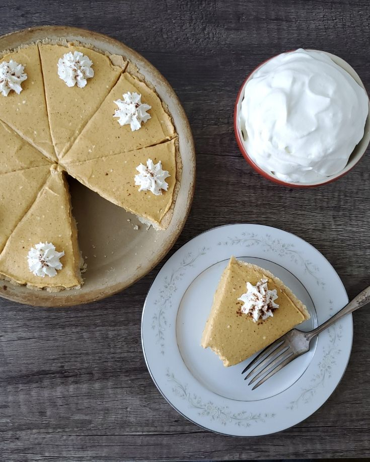 Low Carb Pumpkin Pie with 1 slice taken out