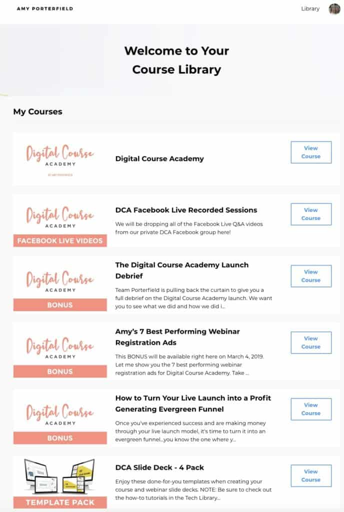digital course academy library screenshot
