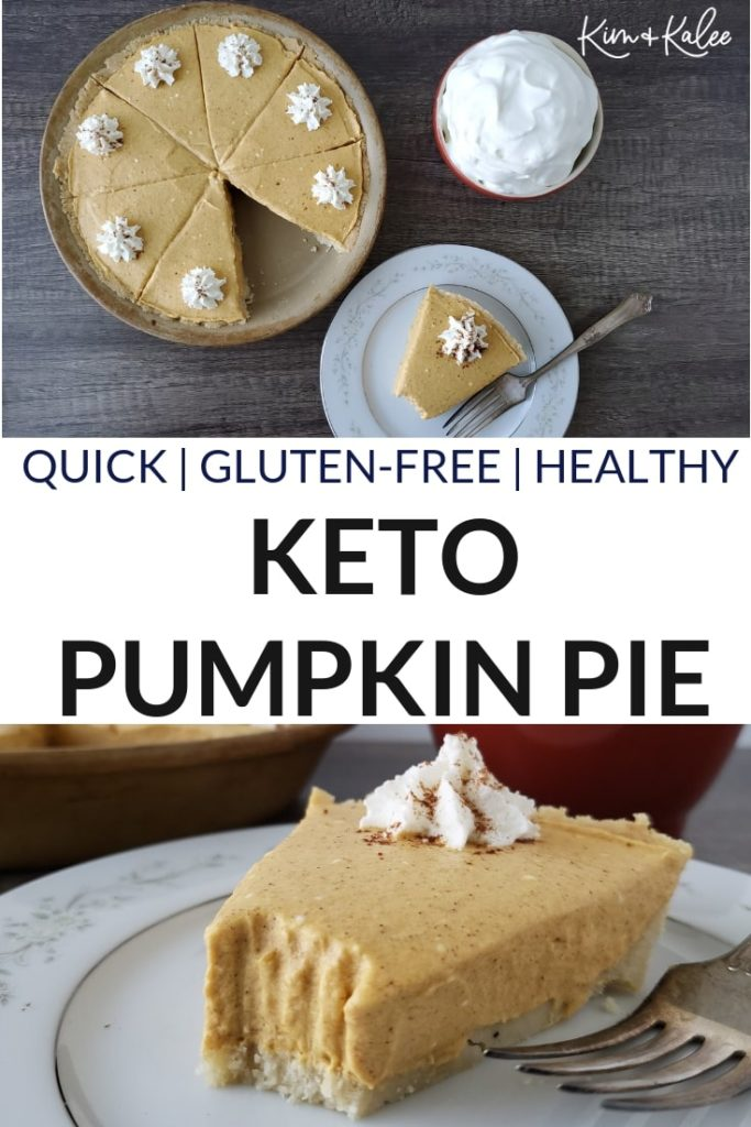 Collage of the Keto Pumpkin Pie and a Slice of It