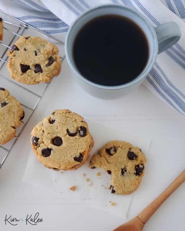 low carb chocolate chip cookies next to a cup of coffee