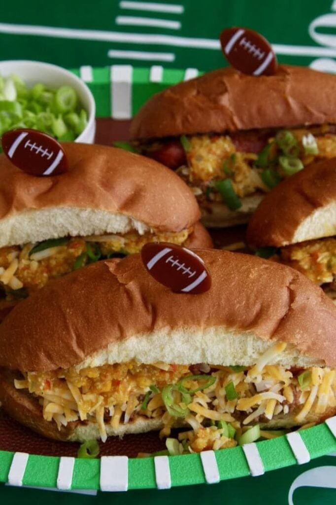 Loaded Chili Dogs are the perfect tailgating food