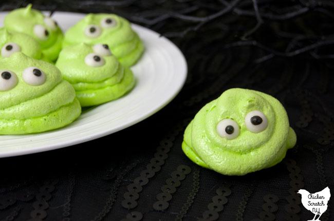green blobby meringue cookies
