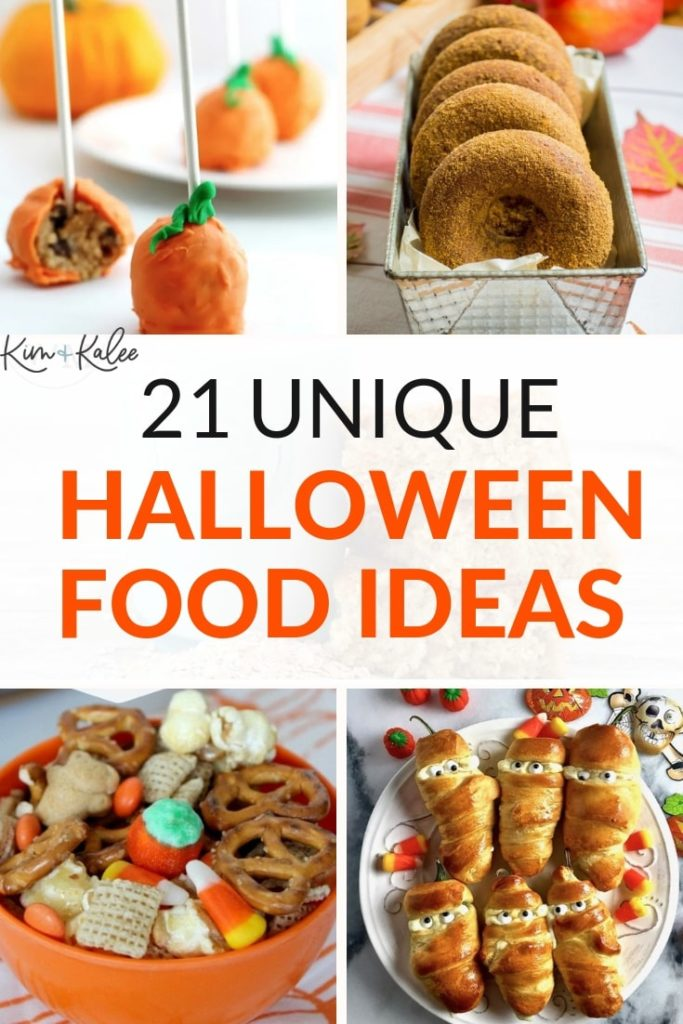 collage of 4 different halloween food ideas for adults