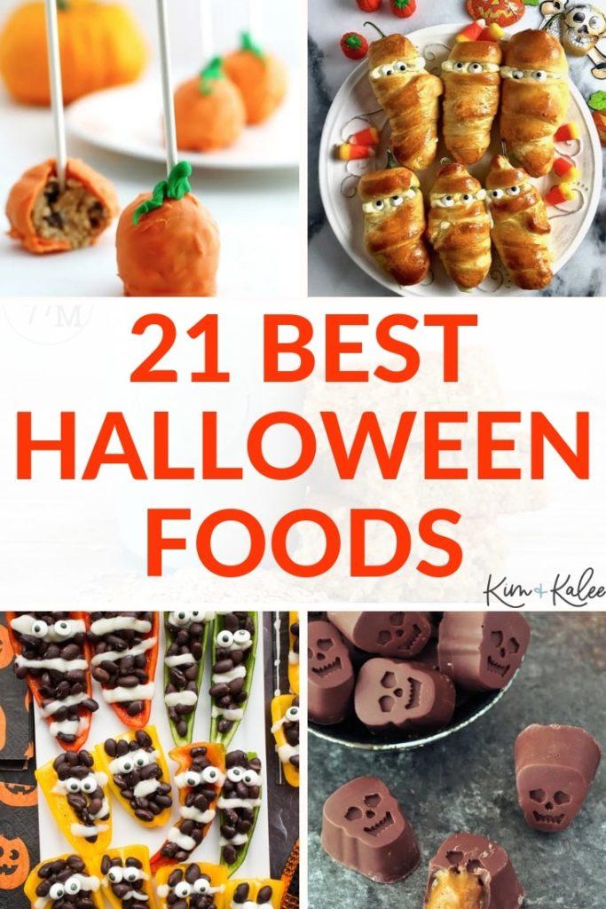collage of 4 halloween food ideas