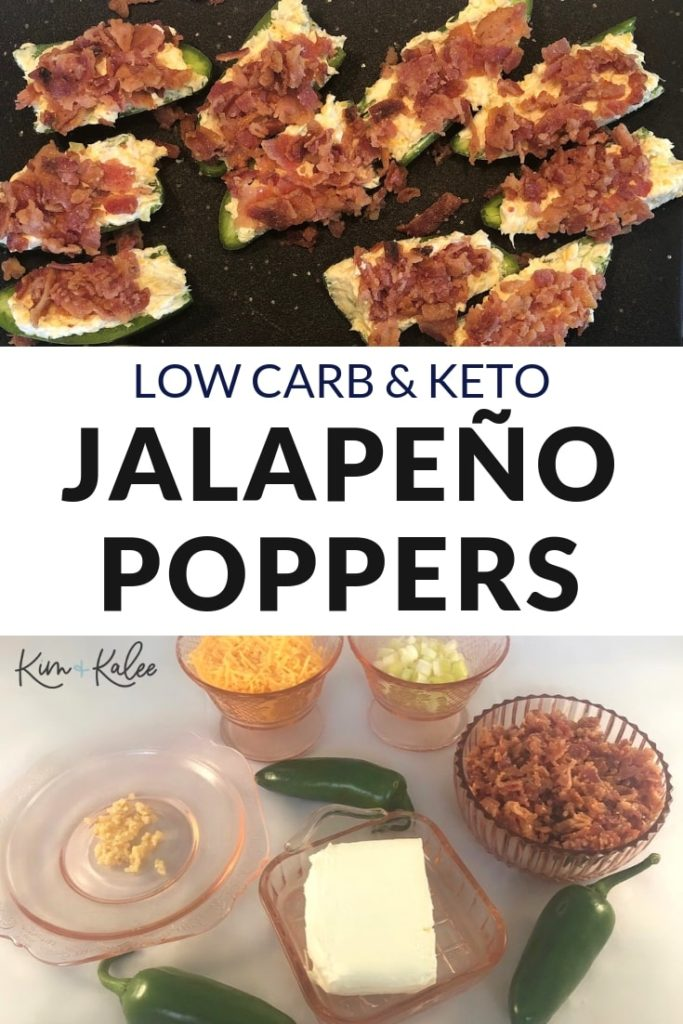 Keto Jalapeños Poppers Collage - Finished on Top with Ingredients on the Bottom