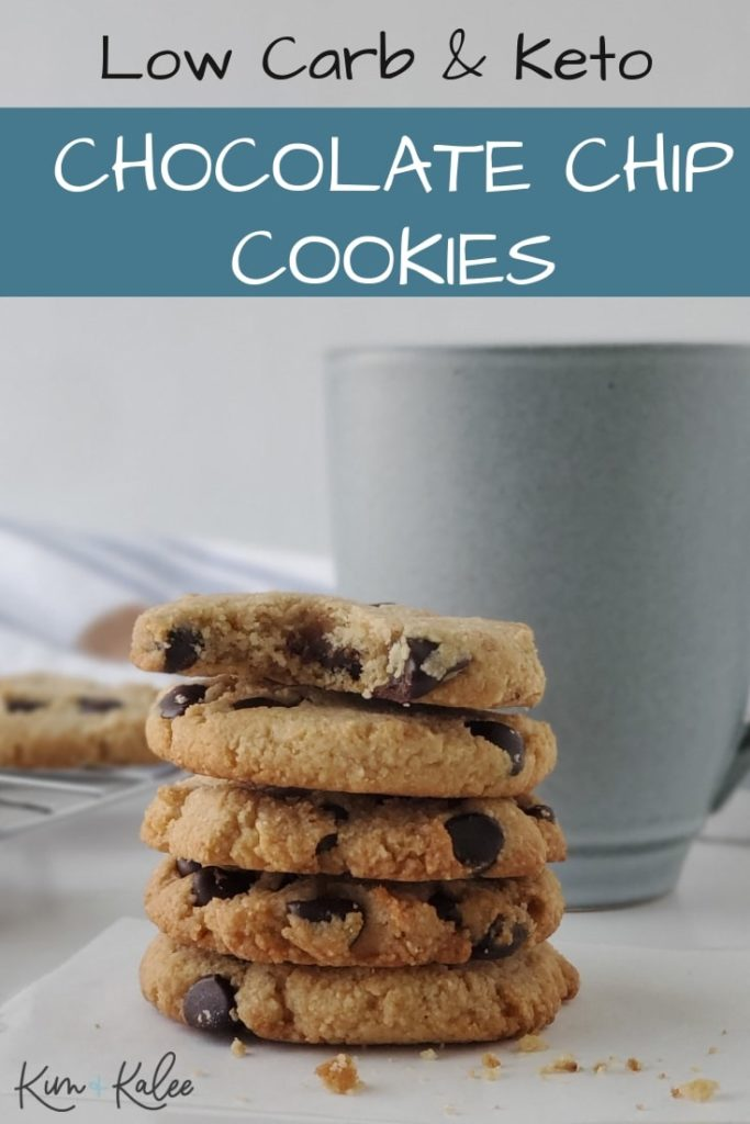 5 Keto Chocolate Chip Cookies Stacked
