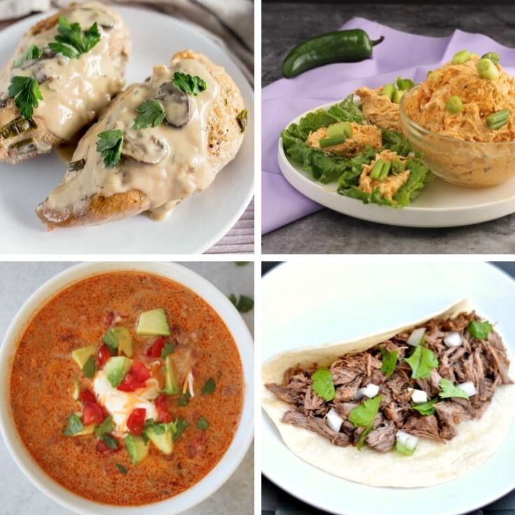 collage of 4 keto slow cooker recipes