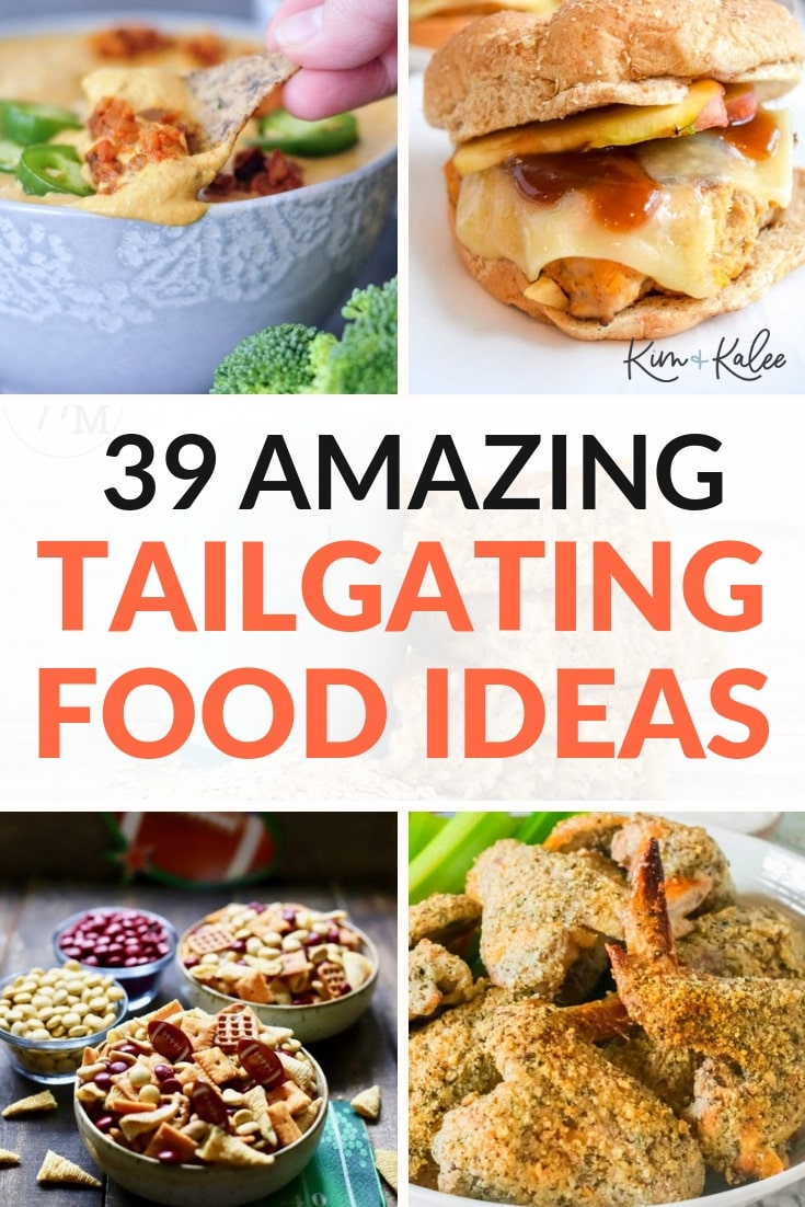 collage of tailgating foods shown above