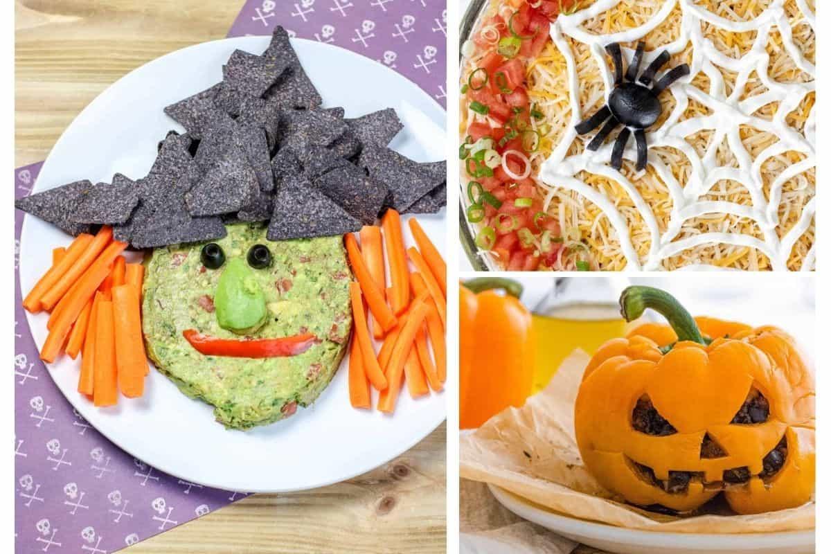 collage of halloween snacks