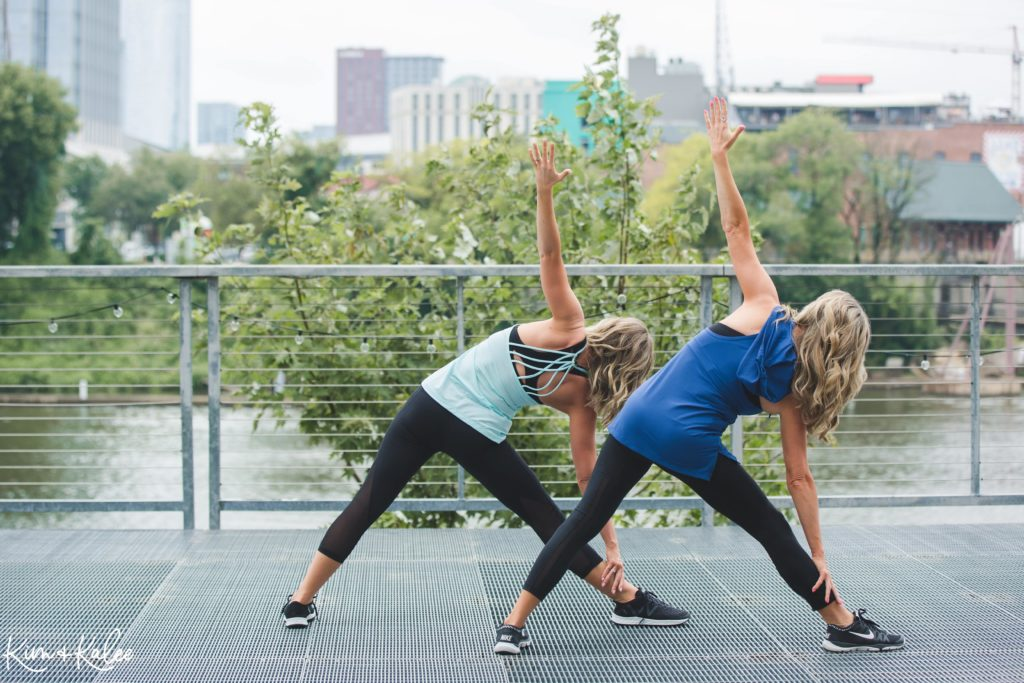 Doing a Triangle Pose during a BODYBALANCE Workout