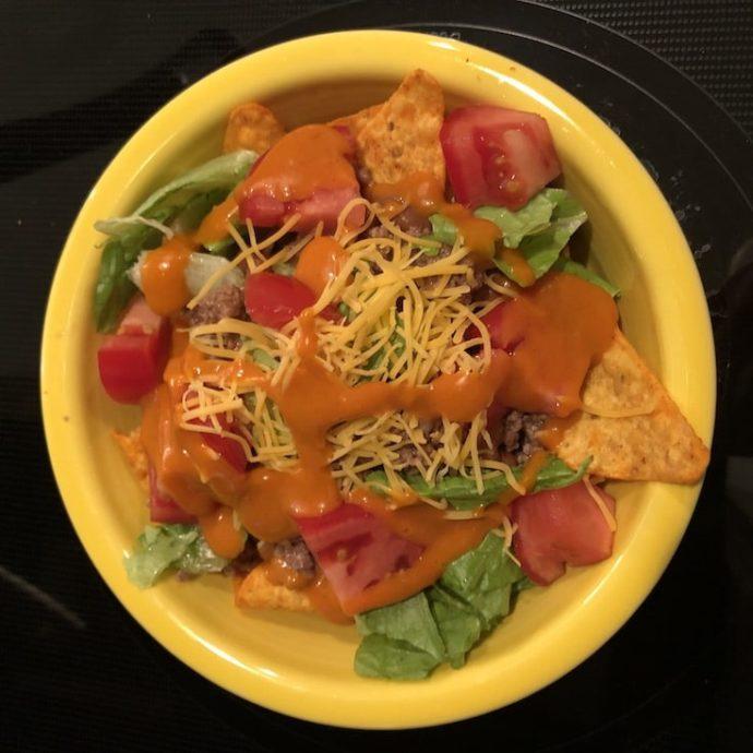 dorito taco salad recipe in a bowl