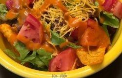 recipe card taco salad with doritos