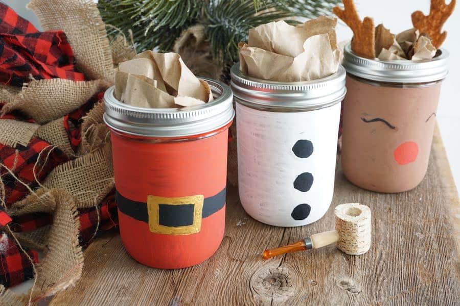 Santa and Snowman painted mason jars