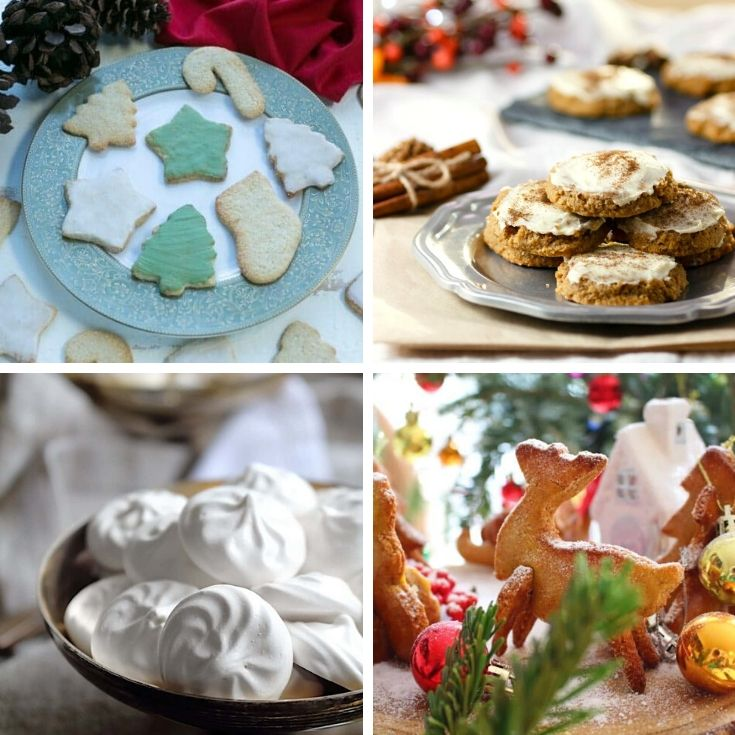 collage of 4 low carb Christmas cookies
