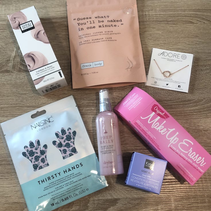 fabfitfun box included beauty products and a necklace