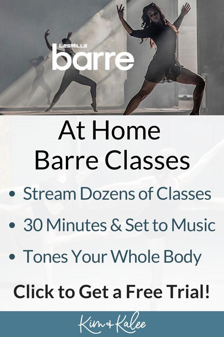 Pinterest image explaining LES MILLS On Demand BARRE Classes