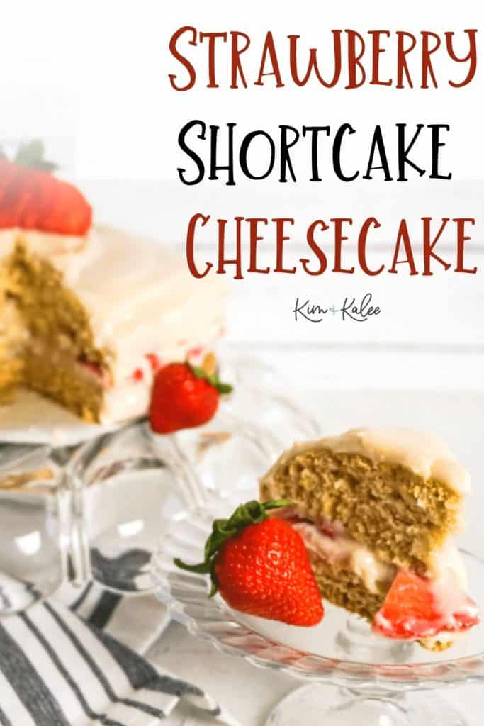 Slice of Strawberry Shortcake Cheesecake