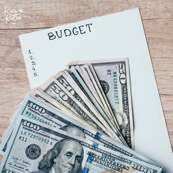 Budget notebook with cash