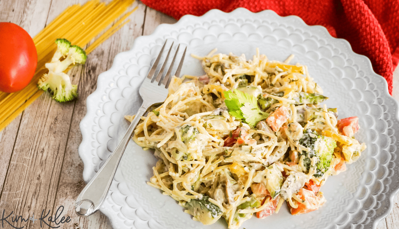 fork beside our best vegan pasta primavera