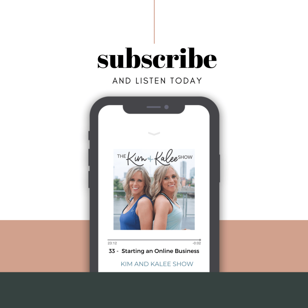 Subscribe to the Kim and Kalee Show with podcast pulled up on an iPhone