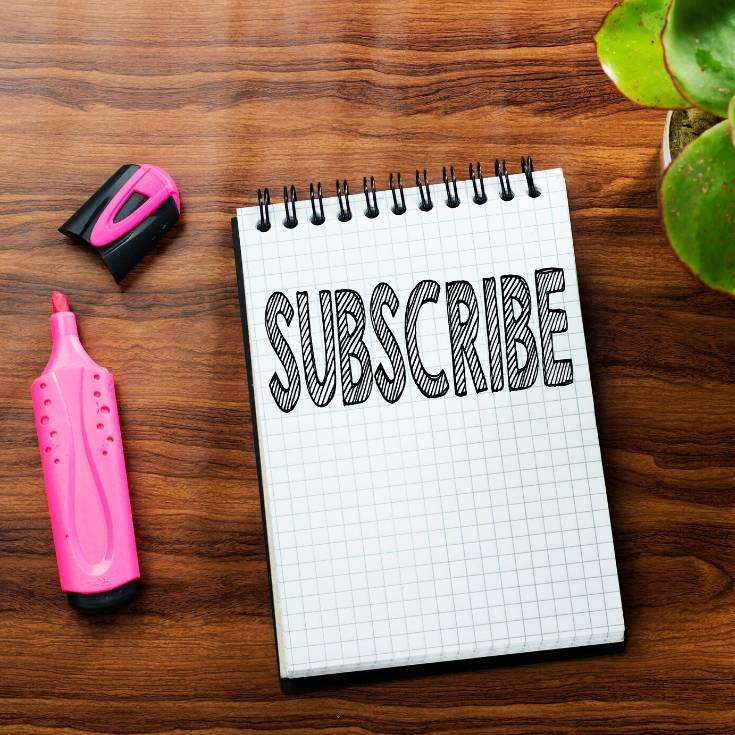 Paper that says Subscribe