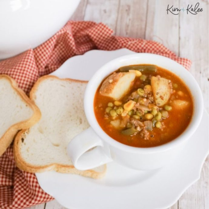 instant pot vegetable beef soup with hamburger in a bowl