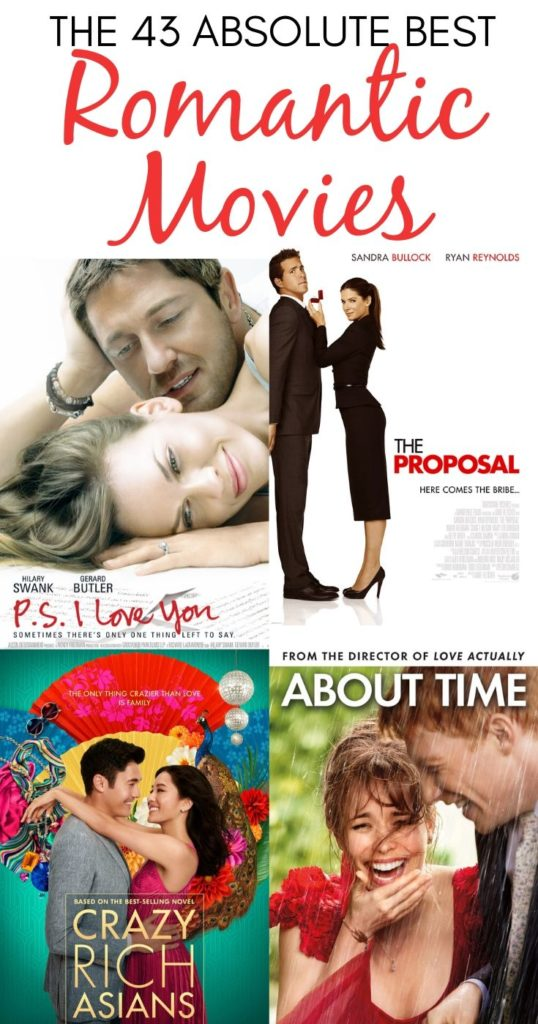 Collage of P.S. I Love You, The Proposal, Crazy Rich Asians, and About Time