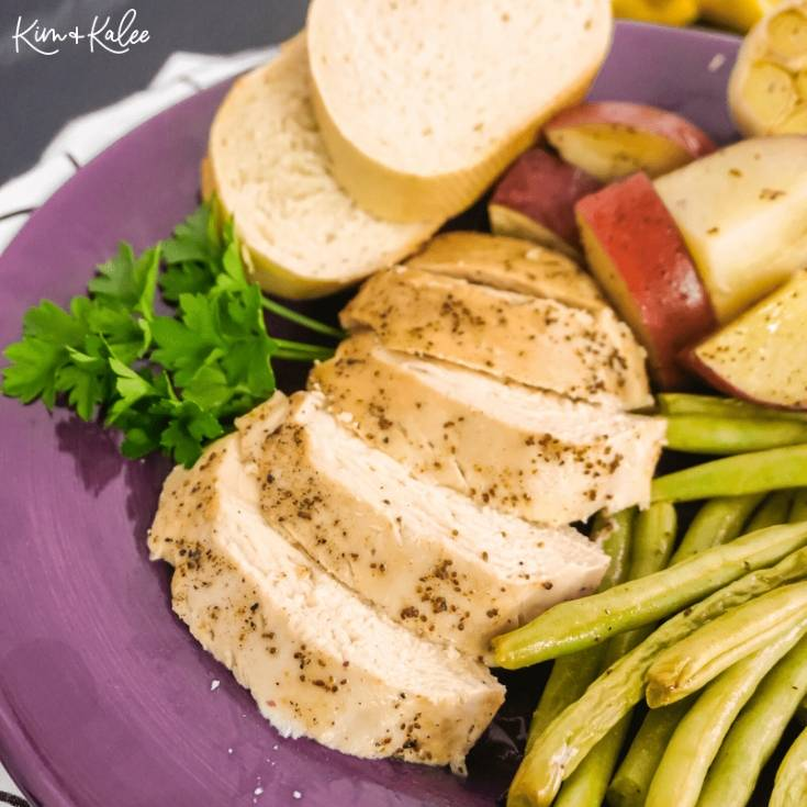 One Pan Chicken Green Beans and Potatoes Baked with Lemon and Garlic