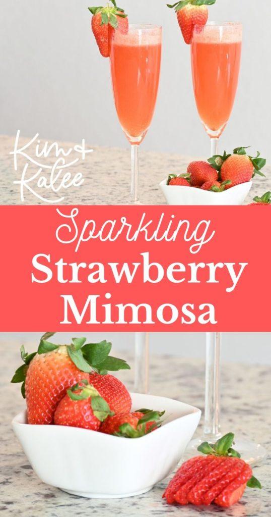 photo collage of fresh sparkling strawberry mimosas