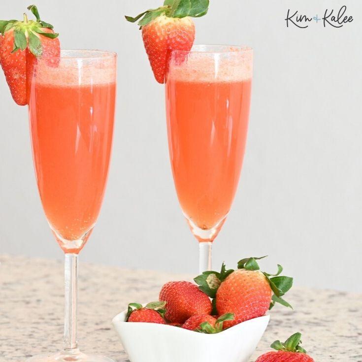 fresh sparkling strawberry mimosa