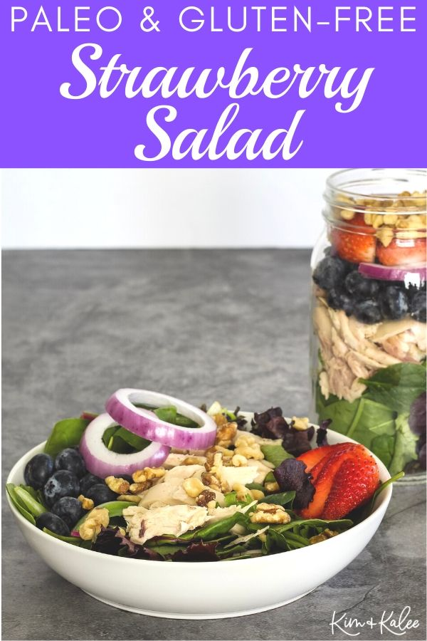 paleo strawberry blueberry walnut salad in a bowl and in a mason jar