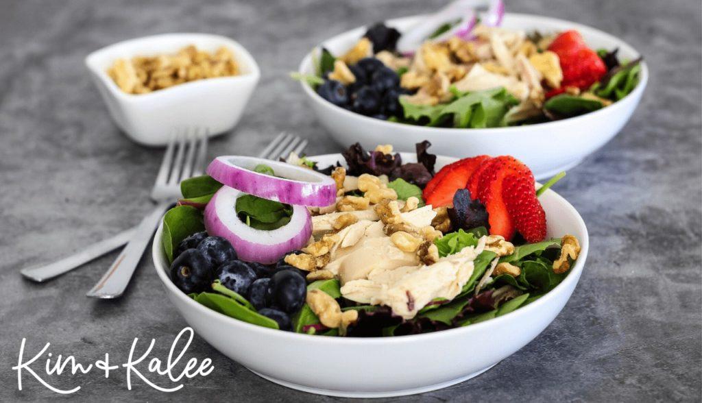 paleo strawberry spinach salad with rotisserie chicken
