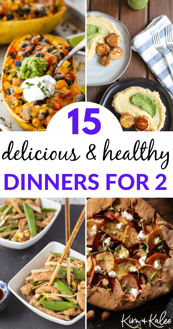 collage of 4 healthy dinner ideas for two