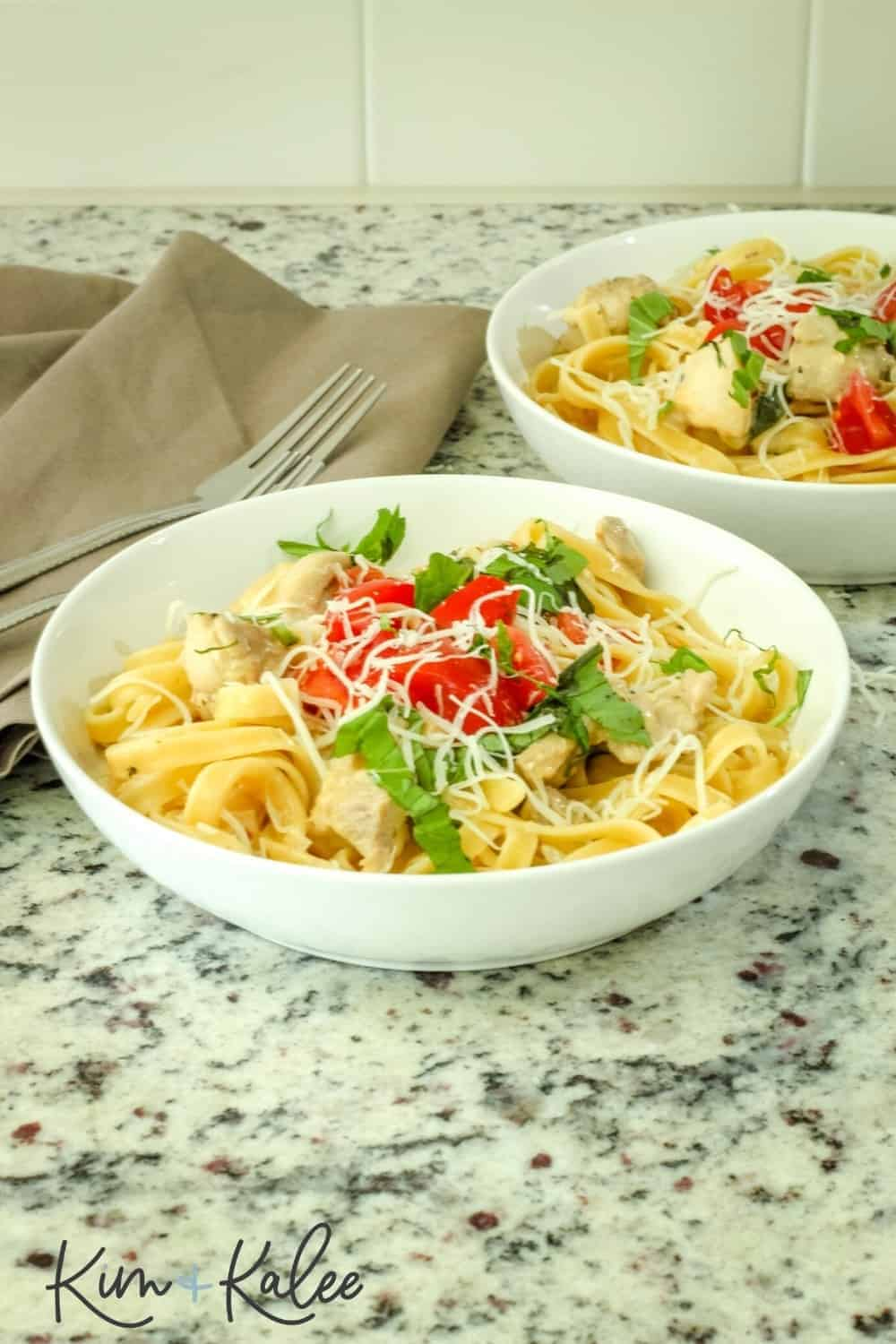 one pot creamy tuscan pasta in a bowl