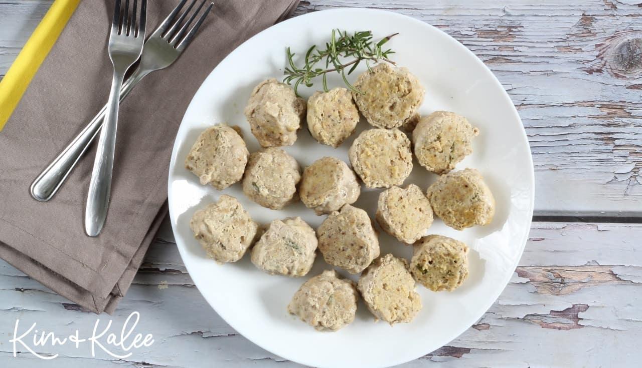 serving gluten free paleo meatballs