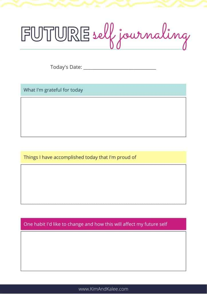 Sample page of our Future Self Journaling Template