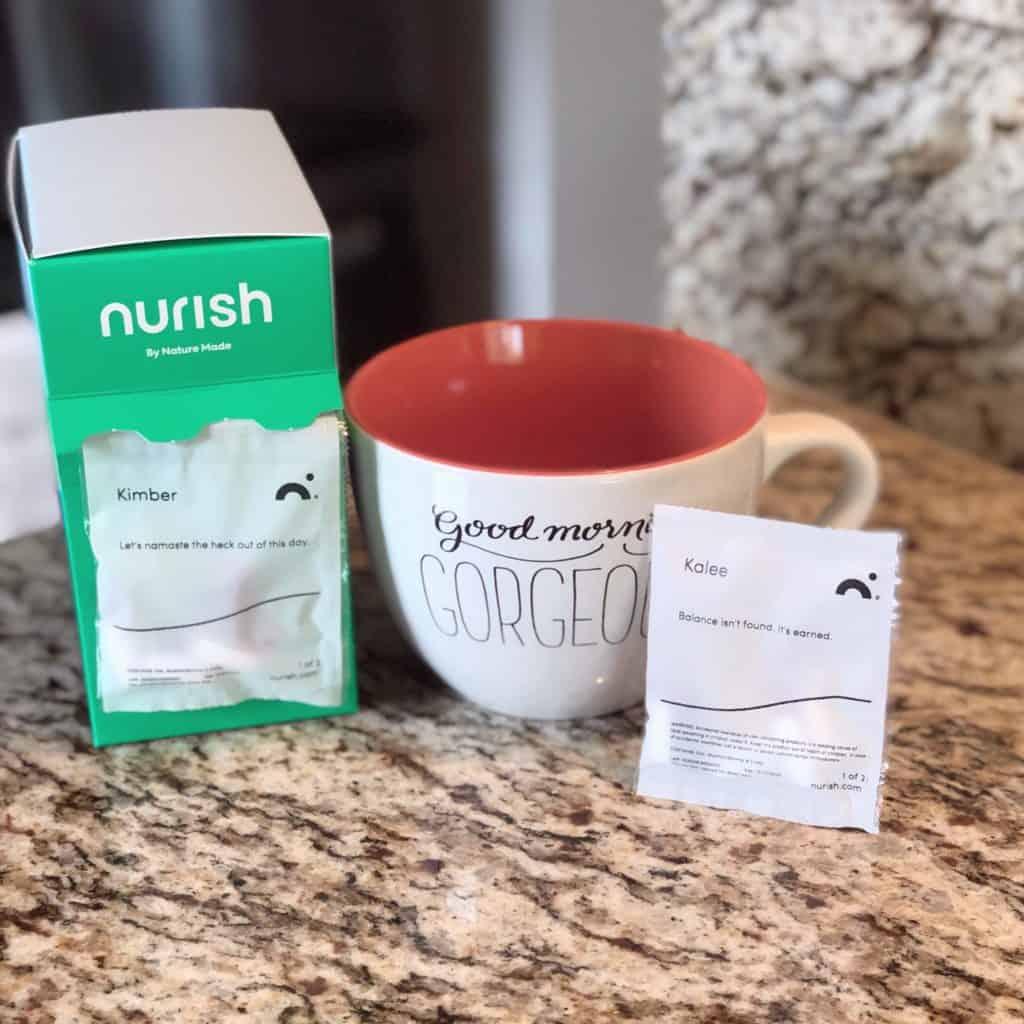 nurish by nature made box, packet, and coffee mug